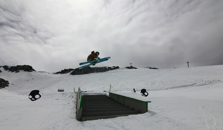Broby Leeds gaping the Skull Candy Stair Set at Momentum Ski Camps